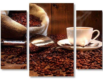 Coffee on Canvas,Coffee  Art style,Beautiful Coffee Beans on Canvas Wall Art, Cup of Coffee on Canvas