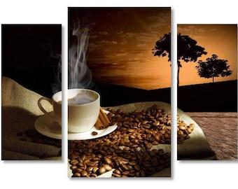 Coffee on Canvas,Coffee  Art style,Beautiful Coffee on Canvas Wall Art, Cup of Coffee on Canvas