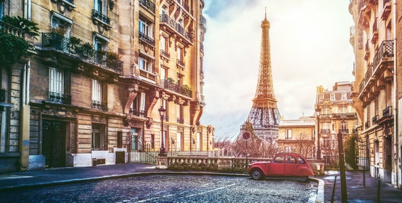 Paris Eiffel Tower Wallpaper Architecture Street Beautiful View Extra Large Mural Adhesive Vinyl
