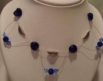 Blue silver costume jewelery set