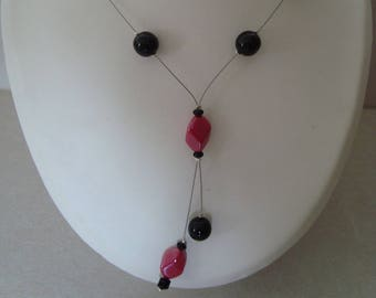 Black and Red coral glass beads necklace