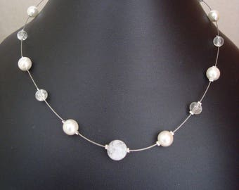 Pearly white simple wedding necklace