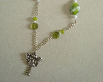 Girl pendant necklace silver chain with white and green beads