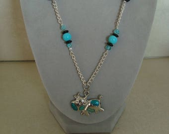 Blue cow pendant necklace