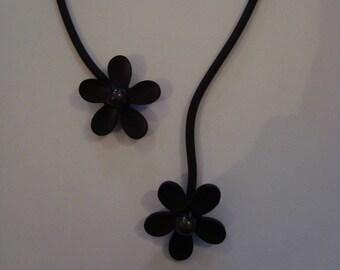 Necklace soft black flower