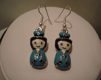 Earrings dangle blue and black doll