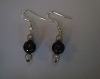 Earrings pearls magic black white grey