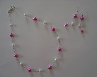 Hot pink and white costume jewelery set
