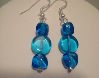 Triple blue earrings