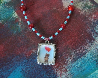 Pendant Necklace with a little bear girl