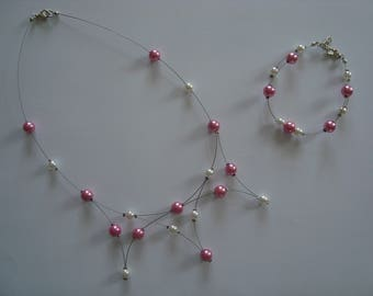 Jewelery set fancy pink and white