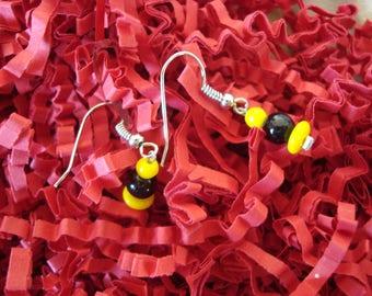 Fancy Black Yellow dangle earrings