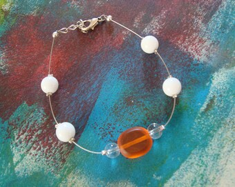 Fancy bracelet simple orange and white bead