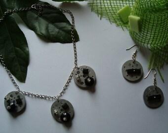 Silver, black and gray costume jewelery set