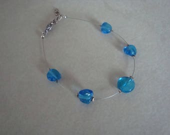Blue glass beaded women bracelet