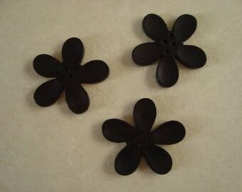 Button 40mm black orchid flower