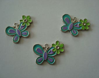 Set of 3 Butterfly with its flower charms