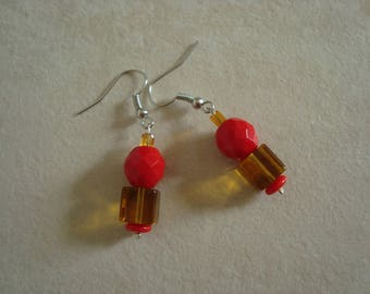 Red and Topaz dangling earrings