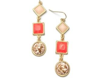 Orange Earrings, Burnt Orange Hypoallergenic Earrings, Marble Earrings for Sensitive Ears, Allergy Free Dangle Earrings, Geometric Earrings