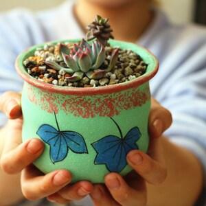 Home Garden Mini garden Lovely flowerpot gift for her Ceramic planter Hand painted flowerpot Succulent Plants Home Decor