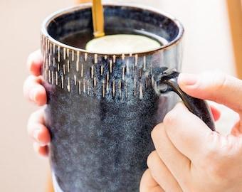 Large Ceramic mug, Pottery mug handmade, 18oz Blue Coffee mug, Gift for her, Coffee lover, Housewarming gift, Handmade mug, Unique mug