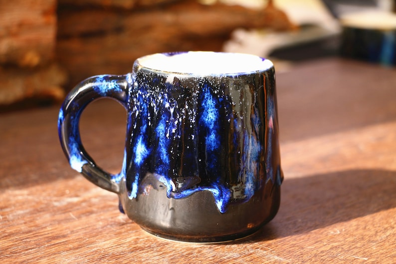 Pottery mug, Handmade ceramic, Mysterious blue mug, Psychedelic green mug,  Coffee lover, Father's day gift , handmade mug, Unique mug