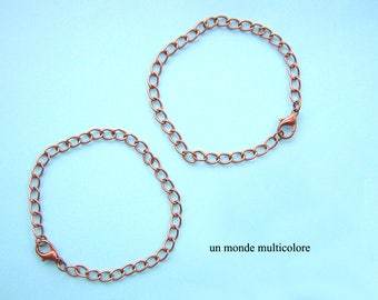 to customize 2 bracelets copper 19 links 7 cm x 5 mm red copper color