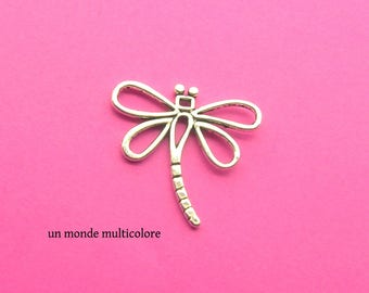Shape silver Dragonfly charm antiqued 31 x 30 mm