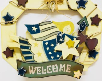 Vintage INDEPENDENCE DAY WELCOME Door Hanger - Hand Made/Hand Painted in the 1990s