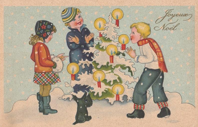 Foto Di Natale Anni 60.Cartolina Vintage Di Natale Con Bambini Cane Neve Candele E Albero Di Natale Cartoline Italiane Collezionabili Anni 60
