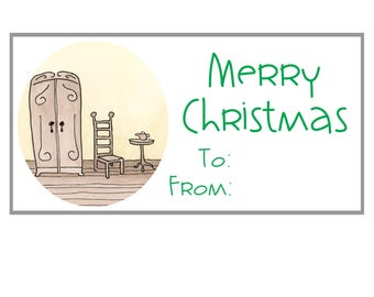 download printable gift tags labels stickers 2x4 merry christmas original artwork illustration whimsical avery template page sheet diy pdf