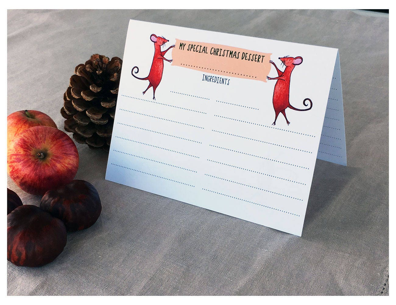 Download Printable Christmas Recipe Cards Folded Double Sided Etsy