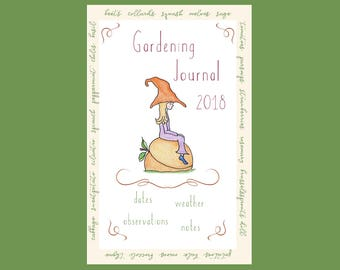 GARDENING JOURNAL Planting Log Booklet Handmade Original Artwork Whimsical Vegetables Seeds Small Half Page Notebook Record Spring Pages