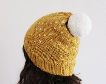 Yellow Knit Hat, Fair Isle Hat, Pom pom Hat, Slouchy Beanie