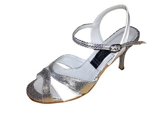 Silver \u0026 White Slingback Ankle Strap