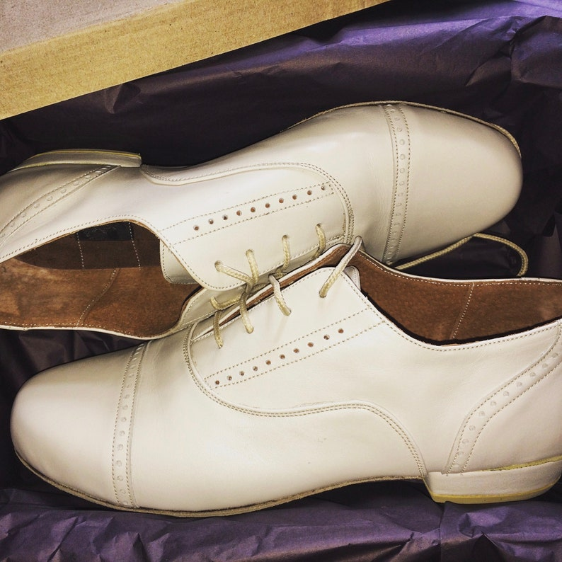 1960s Men's Clothing Off-White Tango Shoes Dance Shoes Leather Shoes Leaders Shoes Mens Shoes La Vikinga Shoes $135.00 AT vintagedancer.com