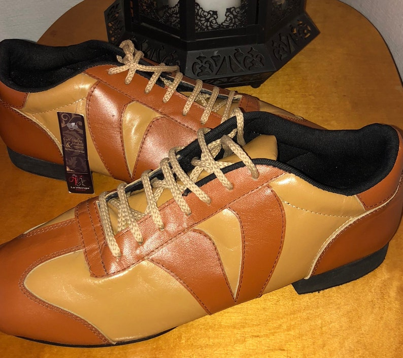 Tile & Mustard Leather Dance Sneakers / Leather Practice Fxt5yPIu