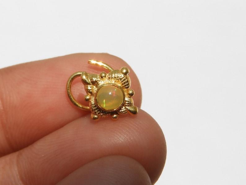 22 Kt Gold Polished On 92.5 Sterling Silver Natural Ethiopian Opal Indian Nose Ring Gemstone Nose Ring Indian Nose Stud Ring