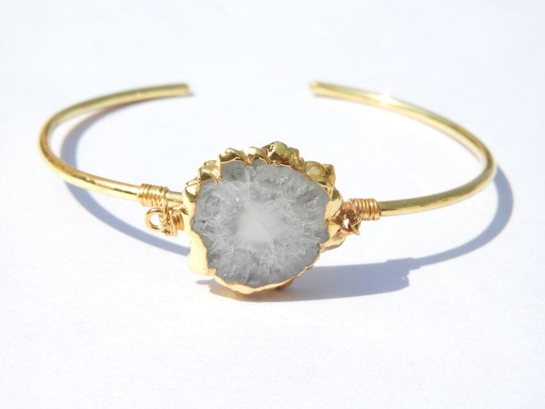 Druzy BraceletGold Edges Druzy BraceletNatural Gemstone BraceletChain BraceletDesigner Solar Druzy Bracelet
