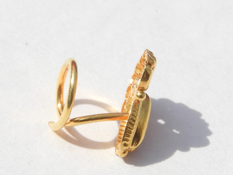 Indian Nose Ring92.5 Sterling Silver Nose Ring22 Kt Gold PolishedNose StudNose BaliPierced Nose Ring Gift For Her