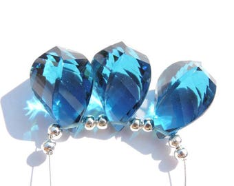 3 Pcs Trios Attractive Teal Blue Quartz Faceted Twisted Drops Beads Gemstone Twisted Drops Size 17X10 MM
