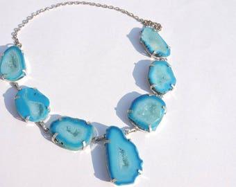 Beautiful Natural Sky Blue Solar Quartz Druzy Slices Necklace Solar Quartz Statement Necklace Druzy Necklace