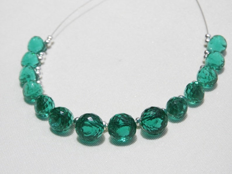 14 Pcs Teal Green Quartz Micro Faceted Onion Shaped Beads Size 10-8 MM