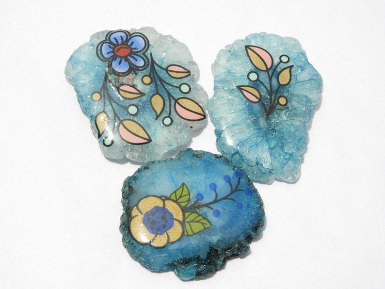 3 Pcs Blue Solar Quartz Druzy Flower Painting Solar Quartz Solar Quartz Druzy Size 40X27-34X30 MM