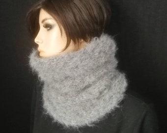 snood femme alpaga et laine,grand col doux et chaud,accessoire mode hiver  en laine,écharpe col tour du cou en fil très doux,noir blanc gris 5db34d0db62