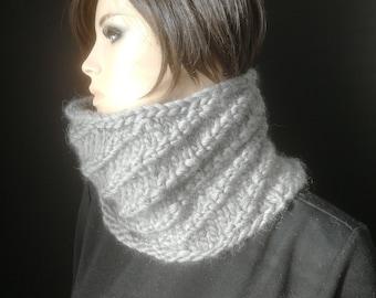 b0fbbf93d1b4 snood col laine pour femme ou homme,snood accessoire de mode hiver en laine, écharpe tube tricot fait main en laine très chaude et douce
