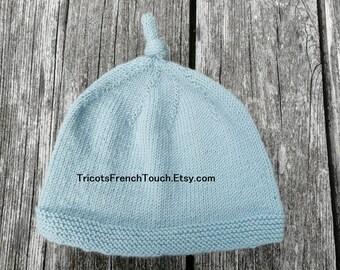Bonnet naissance pour bébé en laine 100 % mérinos.Bonnet noeud nouveaux-nés  chaud doux et naturel.Cadeau de naissance tricoté main en France d220f207433