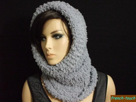 9f986c47152 snood col capuche beige laine fourrure réversible pour femme