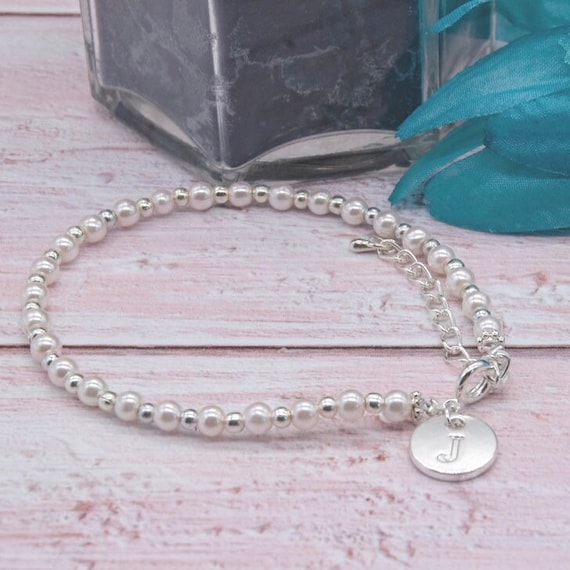 Personalised Gift Flower Girl Bridesmaid Gift Personalised Bracelet with Stamped Initial Heart Charm and Pearl Charm Bracelet Uk shop