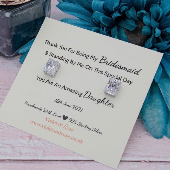 Maid Of Honour Silver Earrings! Thank You For Being Our Bridesmaid Flower Girl